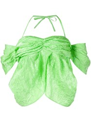 Rejina Pyo Crinkled Halter Neck Top Green