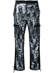 Redemption Sequin Embellished Cargo Trousers Women Silk Polyester 40 Black