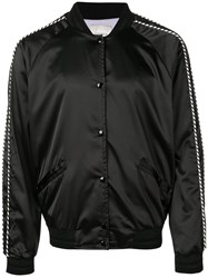 Laneus Tropical Embroidered Bomber Jacket Black