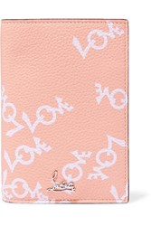 Christian Louboutin Loubipass Printed Textured Leather Passport Cover Antique Rose