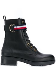 Tommy Hilfiger Lace Up Biker Boots Black