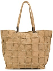 Jamin Puech Grid Detail Shoulder Bag Nude And Neutrals