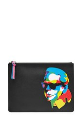 Karl Lagerfeld Printed Clutch With Leather