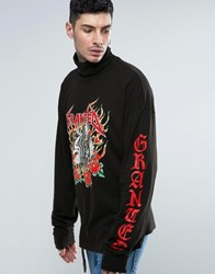 Granted Super Long Sleeve Tee With Turtle Neck And Sleeve Print Black