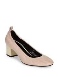 Lanvin Cube Heel Leather Ballerina Pumps Powder