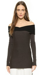 Maiyet Fold Over Sweater Brown Black