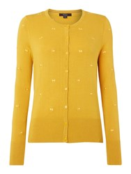 Therapy Bow Embroidered Cardigan Yellow