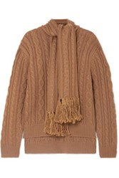 Mother Of Pearl Draped Fringed Cable Knit Wool Blend Sweater Camel