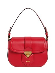 Moschino Lock Leather Shoulder Bag Red