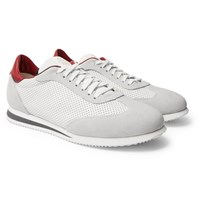 Brunello Cucinelli Suede Trimmed Perforated Leather Sneakers White