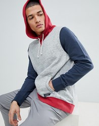 Abercrombie And Fitch Americana Colour Block Overhead Hoodie In Grey Multi
