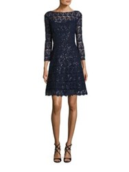 Kay Unger Floral Lace Cocktail Dress Navy