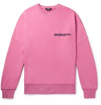 Calvin Klein 205W39nyc Oversized Distressed Logo Embroidered Loopback Cotton Jersey Sweatshirt Pink
