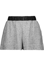 Koral Tap Faux Patent Leather Trimmed Textured Stretch Knit Shorts Gray