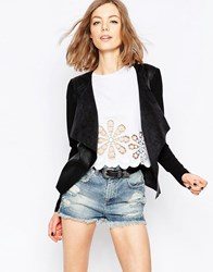 Only Waterfall Faux Suede Jacket Black