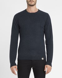 Carhartt Navy Brushed Playoff Wool Knit Round Neck Jumper Blue