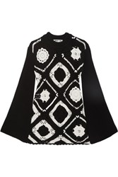 Mcq By Alexander Mcqueen Crocheted Wool And Cotton Blend Mini Dress Black