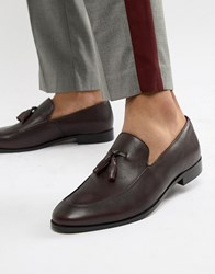 Zign Tassel Loafers In Burgundy Leather Red