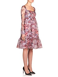 Erdem June Floral Print Silk Organza Dress Red Blue