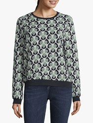 Betty And Co. Tapestry Jersey Top Blue Green