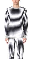 Sleepy Jones Keith Rugby Stripe Thermal Shirt Navy