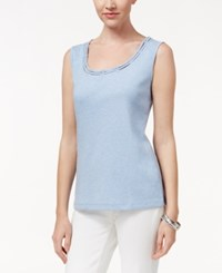 Karen Scott Cutout Tank Top Only At Macy's Light Blue Heather