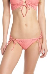 Robin Piccone Side Tie Bikini Bottoms Salmon