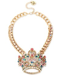 Betsey Johnson Gold Tone Crystal Crown Frontal Necklace