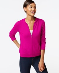 Charter Club Cashmere Zip Front Hoodie Only At Macy's Bright Fuchsia