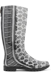 Just Cavalli Snake Print Rubber Rain Boots Gray
