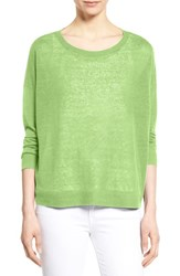 Women's Eileen Fisher Organic Linen Bateau Neck Boxy Sweater Celadon