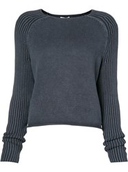 Frame Denim Crew Neck Raglan Jumper Women Cotton S Blue