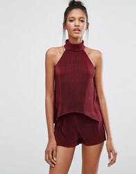 Influence Plisse Layer Playsuit Burgundy Red