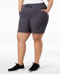 Ideology Plus Size Woven Shorts Deep Charcoal