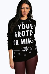 Boohoo Your Grotto Or Mine Christmas Jumper Black