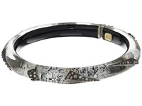 Alexis Bittar Crystal Encrusted Origami Inlay Hinge Bracelet Antique Silver