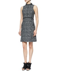 Proenza Schouler Sleeveless Stand Collar Tweed Dress
