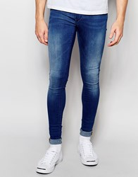 Blend Of America Blend Flurry Extreme Super Skinny Jeans In Mid Blue Mid Blue