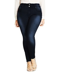 City Chic Asha Skinny Jeans In Dark Denim
