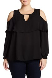 Stony Long Sleeve Cold Shoulder Blouse Plus Size Black