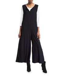 Johnny Was Plus Size Hythe Sleeveless Wide Leg Jumpsuit W Embroidery Black