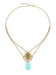 Anthony Camargo Green Chalcedony White Topaz London Blue Topaz And 14K Yellow Gold Cluster Draped Pendant Neckla Gold Aqua