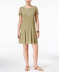 G.H. Bass And Co. Burnout Fit And Flare Dress Dusty Olive