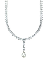 Arabella Cultured Freshwater Pearl 10Mm And Swarovski Zirconia 75 3 4 Ct. T.W. Necklace In Sterling Silver White