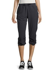 Marc New York Solid Banded Waist Capri Pants Charcoal
