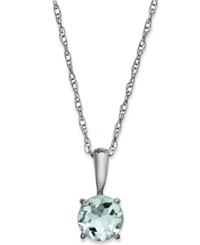 Macy's Aquamarine Pendant Necklace In 14K White Gold 5 8 Ct. T.W.
