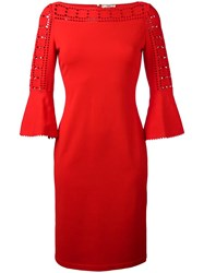 Fendi Cut Off Detailing Fitted Dress Red