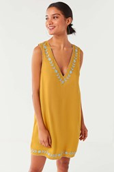 Urban Outfitters Uo Valencia Embroidered Shift Dress Yellow Multi