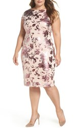 Eci Plus Size Women's Foil Print Sheath Dress Pink
