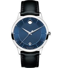 Movado 0606874 1881 Automatic Stainless Steel And Leather Watch Blue